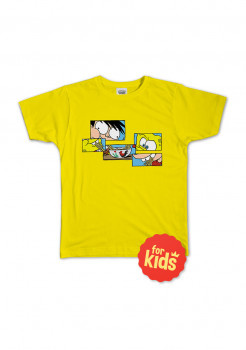 Kaos Anak: Si Juki x Spongebob Yellow Puzzle