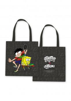 Totebag Si Juki x Spongebob Black